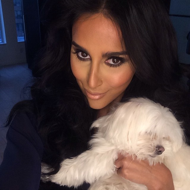 Lilly Ghalichi's makeup after Bria was done with her and Lilly's adorable dog Coconut!