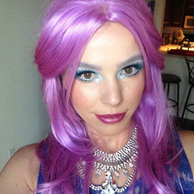 Here's me with a full on beating of mermaid inspired makeup.
